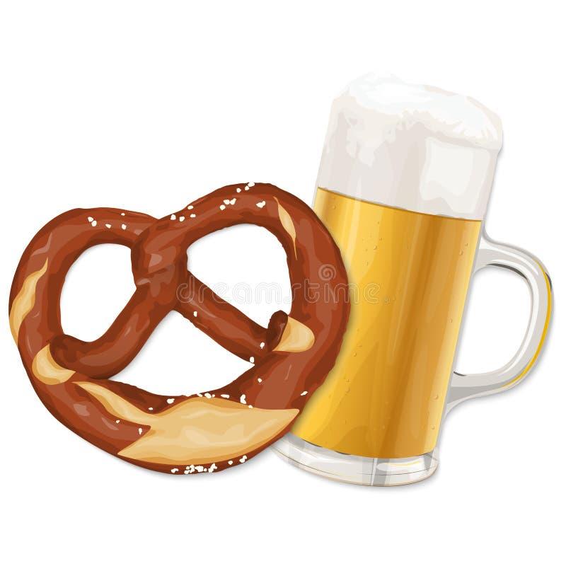 Pretzel e cerveja de Oktoberfest ilustração do vetor