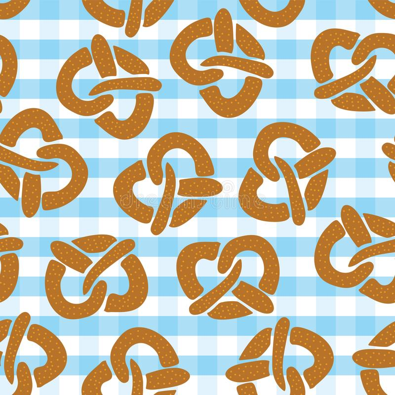 Pretzel seamless pattern for Oktoberfest vector illustration