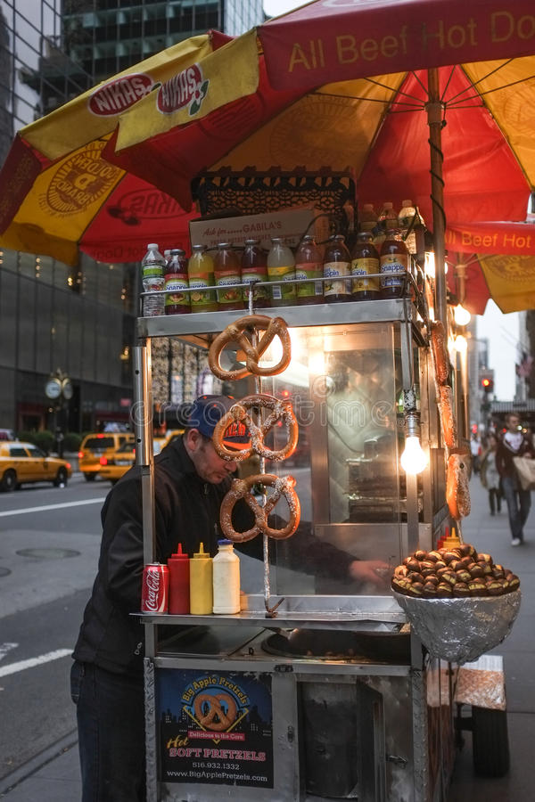 Pretzel Seller Street Food - New York royalty free stock image