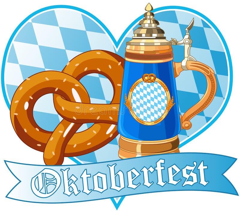 Pretzel y taza de Oktoberfest ilustración del vector