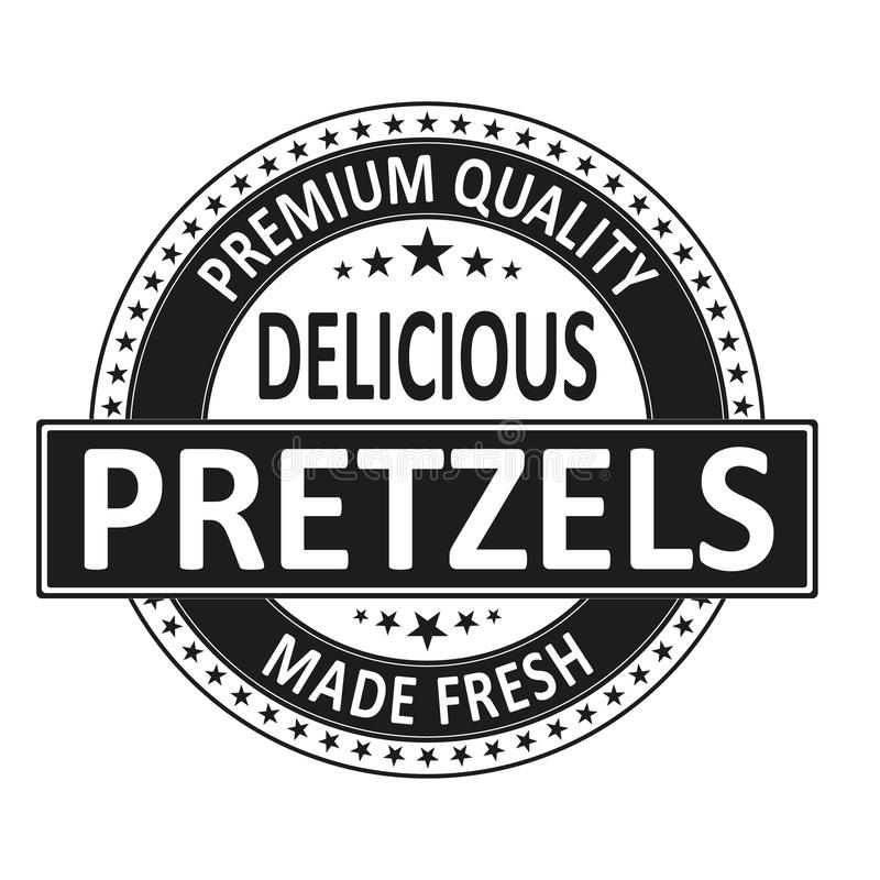 Pretzels delicious premium quality made fresh stamp wen label on a white background royalty free illustration