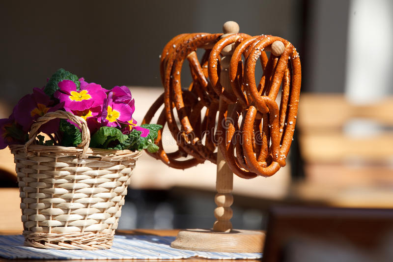 Pretzels and flowers royalty free stock images