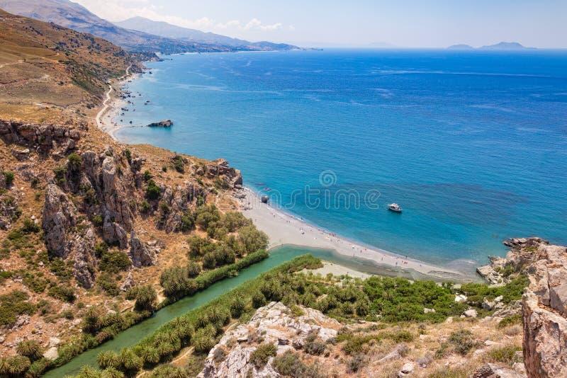 Preveli Palm Beach и лагуна Крит Греция стоковые изображения rf