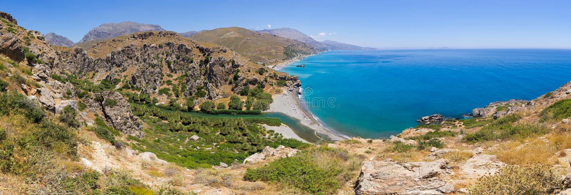 Preveli Palm Beach na ilha da Creta, Grécia fotos de stock royalty free