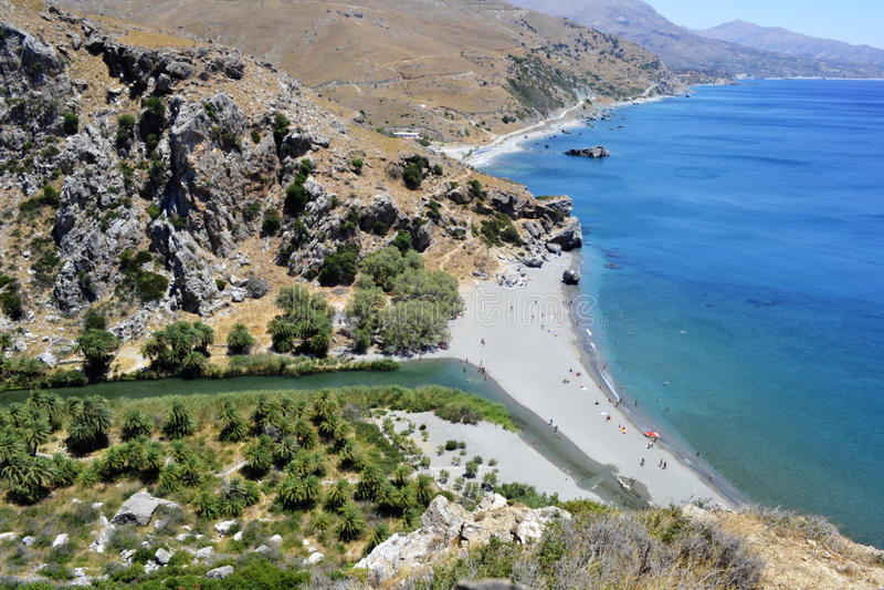 Preveli strand i Crete, Grekland royaltyfria bilder