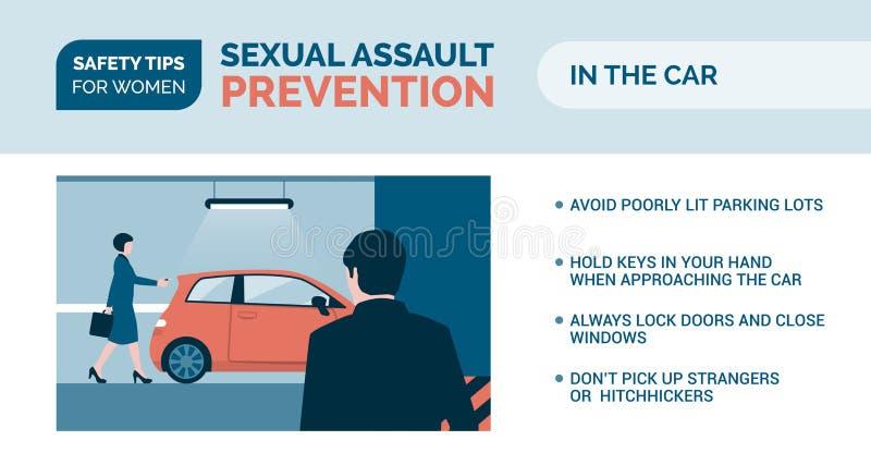 Prevenção da agressão sexual: como ser seguro em um carro ilustração stock