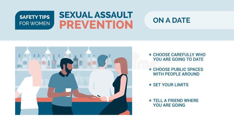 Prevenção da agressão sexual: como ser seguro em uma data ilustração do vetor