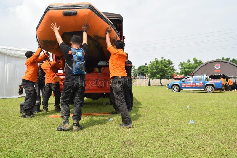 Prevenção de desastre da prontidão de Apel guardada no campo Semarang de Simongan fotos de stock royalty free