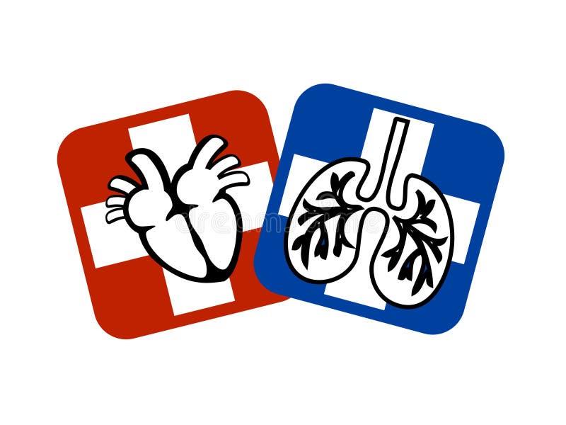 Prevenção do coração e dos pulmões ilustração do vetor