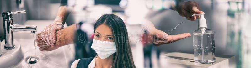 Prevenção do vírus Coronavírus Corona para faixa COVID- 19 Sanitizador manual com álcool esfregaço com álcool vs lavagem das mãos imagens de stock