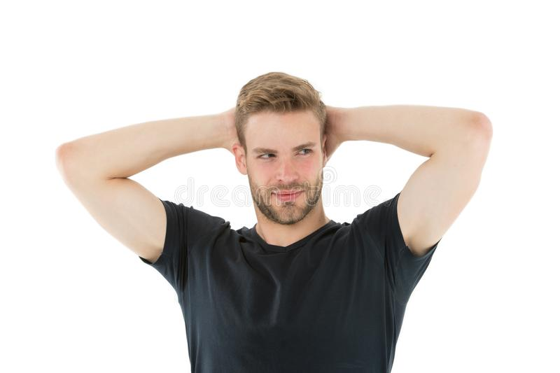 Prevent and reduce perspiration with proper organic antiperspirant. Sweating problem. Effective antiperspirant. Man. Confident in his antiperspirant. Guy checks royalty free stock photography