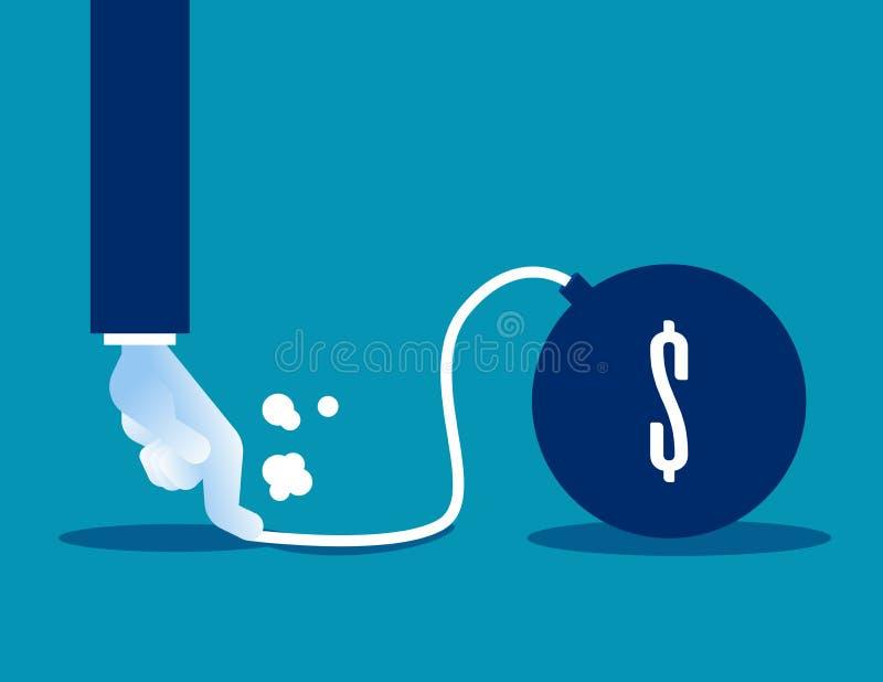 preventing De bedrijfshand houdt de explosie van dollarteken tegen stock illustratie