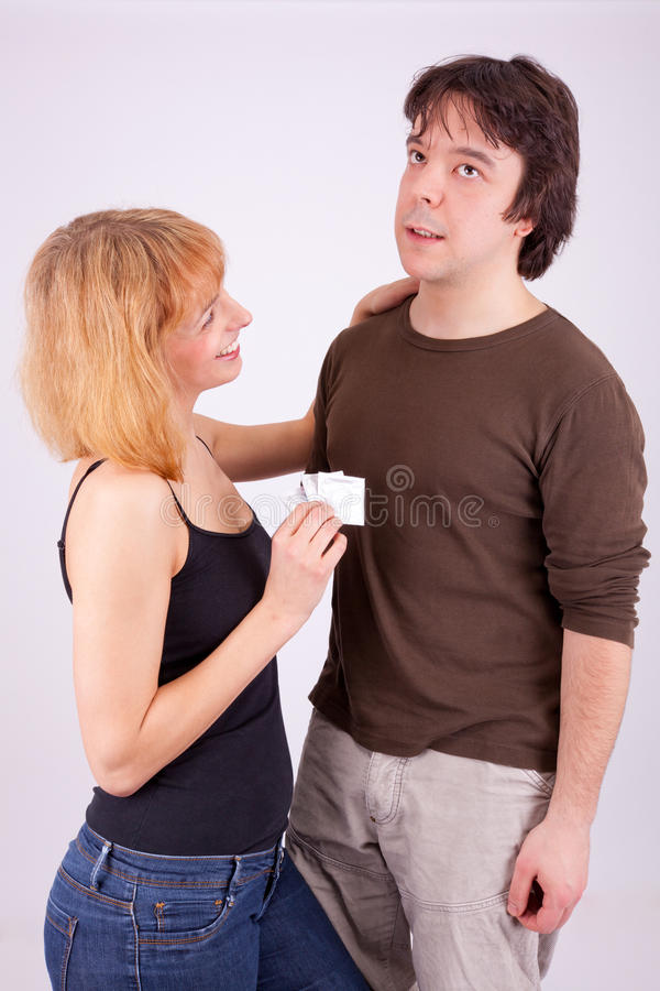 Prevention with condom stock photography
