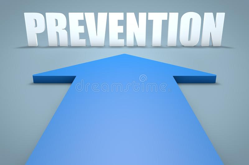 Prevention. 3d render concept of blue arrow pointing to text. preventive word health medical maintenance care disease medicine healthcare illness healthy stock illustration