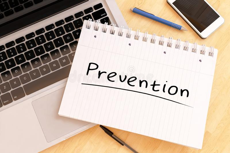 Prevention. Handwritten text in a notebook on a desk - 3d render illustration, preventive, word, concept, health, medical, maintenance, care, disease royalty free illustration