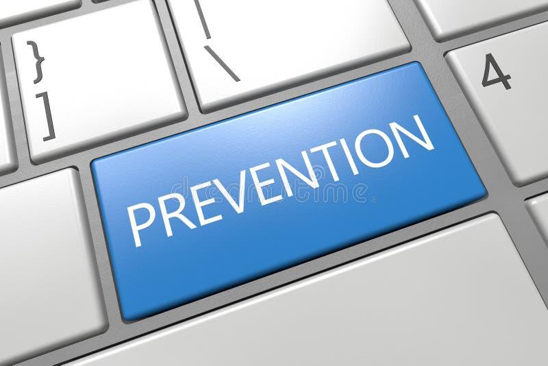 Prevention. Keyboard 3d render illustration text concept with word on blue key. preventive health medical maintenance care disease medicine healthcare illness stock illustration