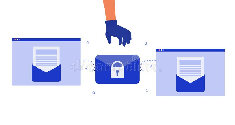 Prevention of mail leakage. Data breach, compromised email. Hacker breaks security.  Encrypted data. Mitigate damage. Authorized. Prevention of mail leakage royalty free illustration