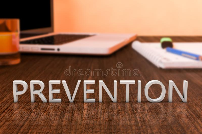 Prevention. Letters on wooden desk with laptop computer and a notebook. 3d render illustration. preventive word concept health medical maintenance care royalty free illustration