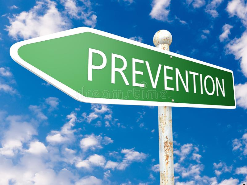 Prevention. Street sign text concept illustration in front of blue sky with clouds. 3d Rendering, preventive, word, health, medical, maintenance, care vector illustration