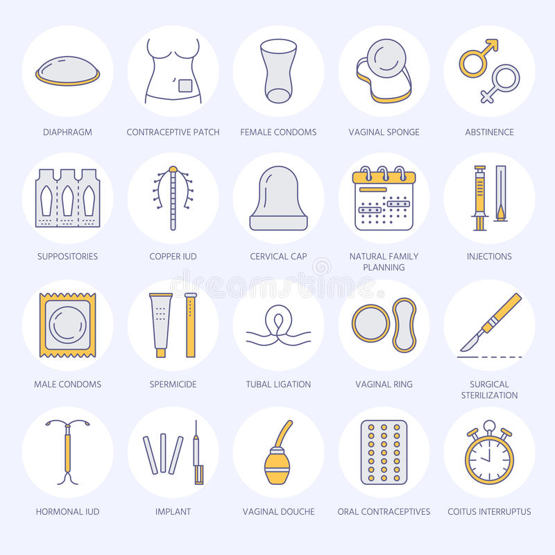Preventiv- metodlinje symboler Födelsekontrollutrustning, kondomar, muntliga preventivmedel, iud, barriärdet att använda preventi vektor illustrationer