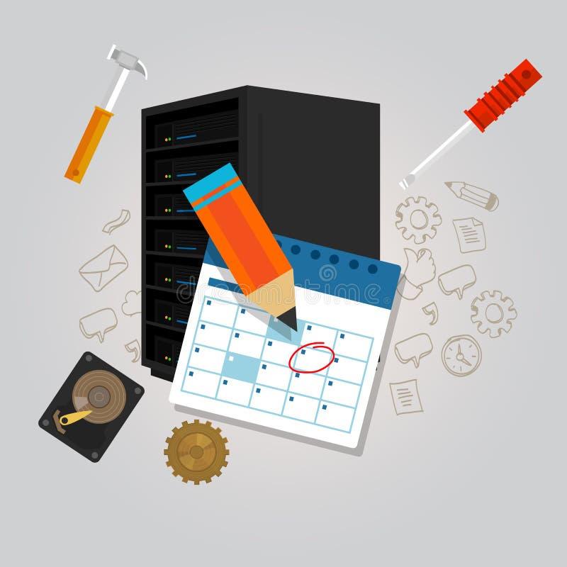 Preventivo de pesquisa de defeitos do hardware da fixação da mudança do plano da agenda da programação de manutenção do servidor ilustração royalty free