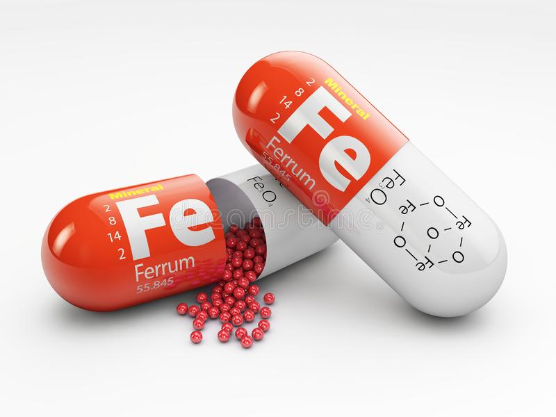 Preventivpiller med järnFE-beståndsdelen dietary supplements illustration 3d stock illustrationer