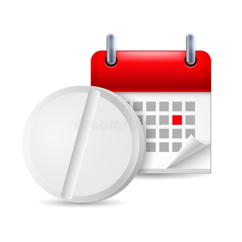 Preventivpiller och kalender vektor illustrationer