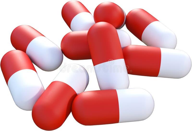 Preventivpiller preventivpillerar, medicin, sjukvård som isoleras stock illustrationer