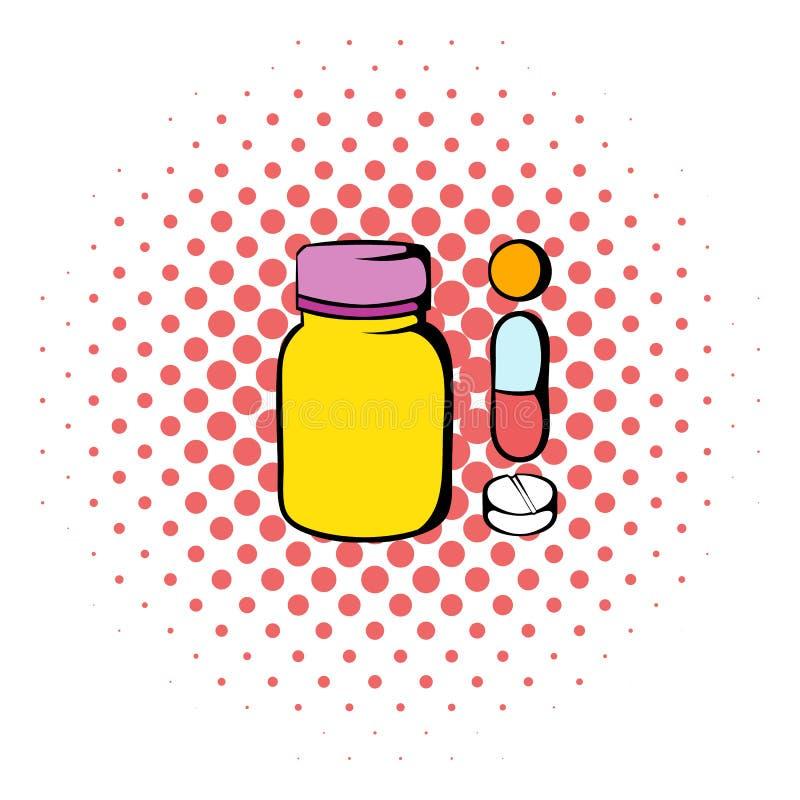 Preventivpillerar i en flasksymbol, komiker utformar stock illustrationer