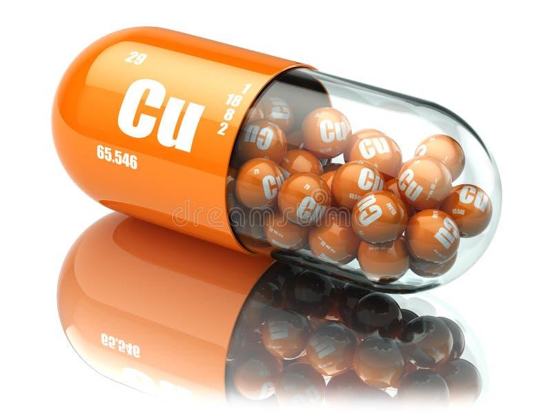 Preventivpillerar med kopparcuprumCubeståndsdelen dietary supplements Vitami stock illustrationer