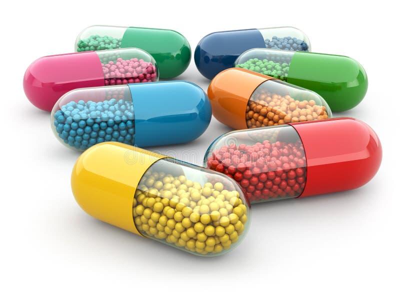 Preventivpillerar och droger på vit bacground. Medicinskt begrepp. vektor illustrationer