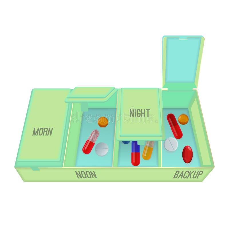 Preventivpillerar och kapslar i special behållare med dosering royaltyfri illustrationer