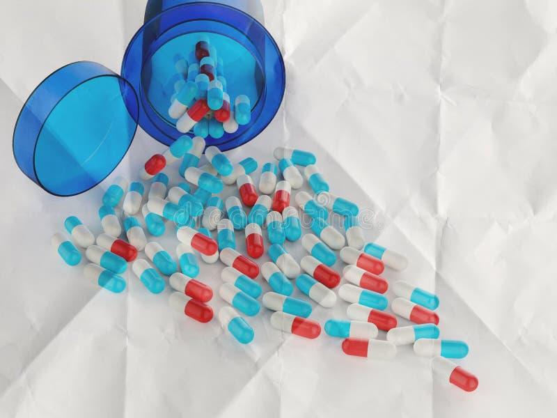 Preventivpillerar som spiller ut ur preventivpillerflaskan stock illustrationer