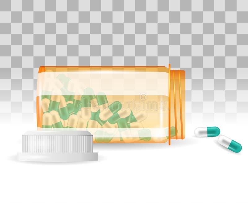 Preventivpillerar spiller ut ur en flaska Realistisk vektorillustration Minnestavlor i en flaska på den genomskinliga bakgrunden royaltyfri illustrationer
