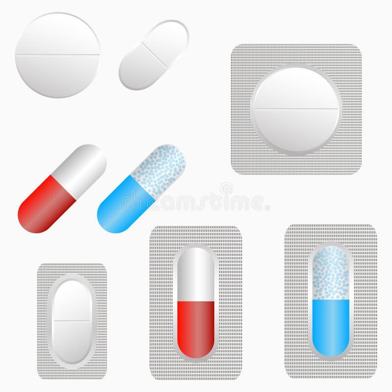 Preventivpillerar, uppsättning av minnestavlor och kapsel Mediciner i blåsapacke vektor vektor illustrationer