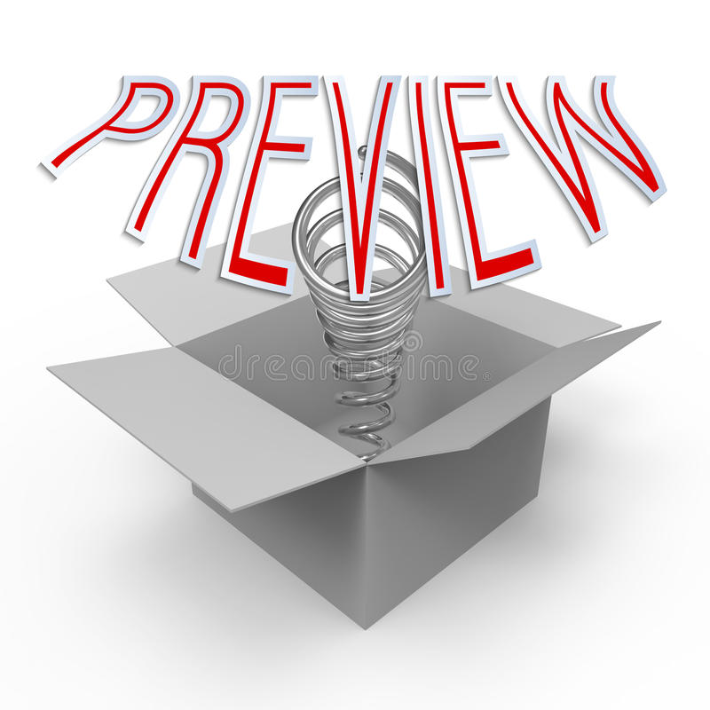 Preview. 3d cardboard box with pop-up caption 'Preview'. Concept of quick lookup, pre-premiere showing, think outside the box. Abstract minimalistic 3 royalty free illustration