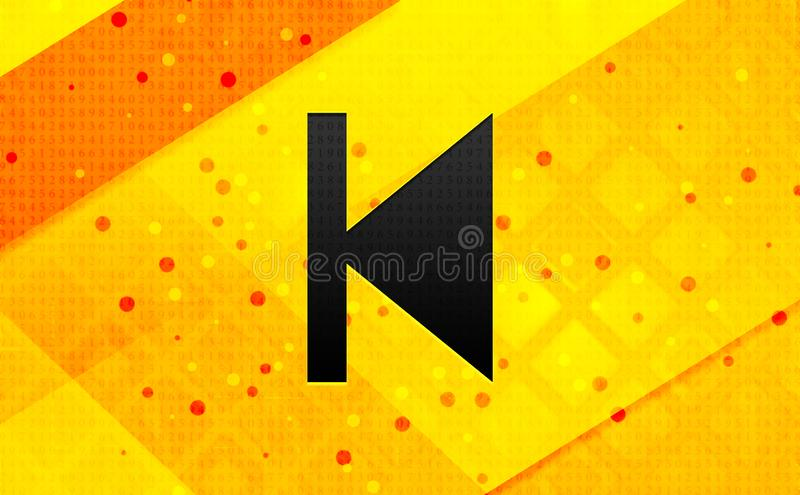 Previous track icon abstract digital banner yellow background. Previous track icon isolated on abstract digital banner yellow background vector illustration
