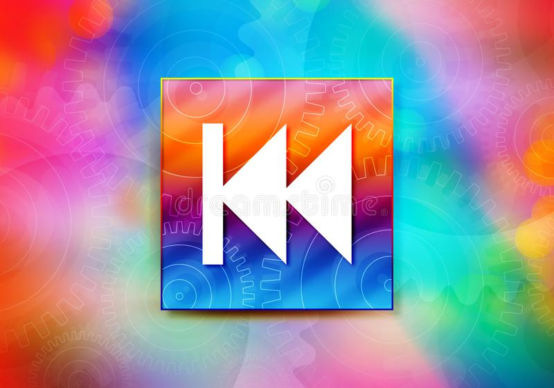 Previous track playlist icon abstract colorful background bokeh design illustration. Previous track playlist icon isolated on colorful banner abstract colorful stock illustration