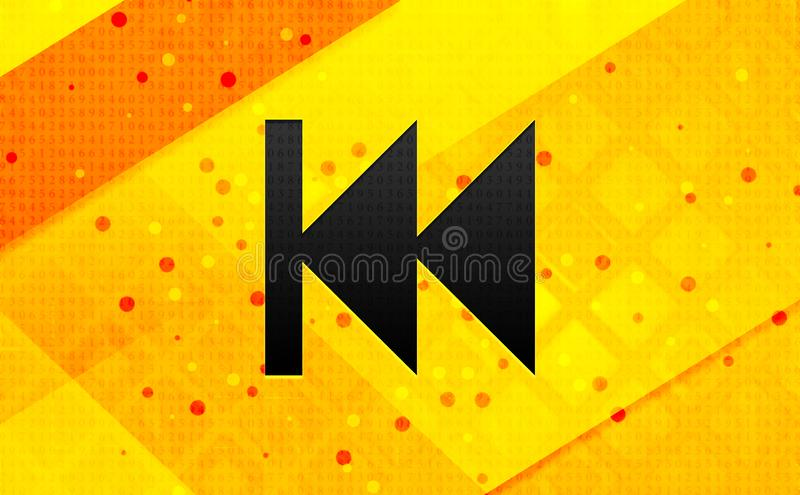 Previous track playlist icon abstract digital banner yellow background. Previous track playlist icon isolated on abstract digital banner yellow background royalty free illustration