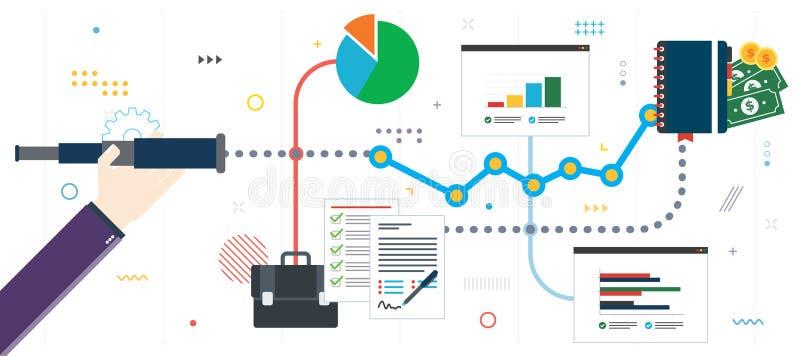 Previsão, visão, crescimento e sucesso do negócio ilustração stock