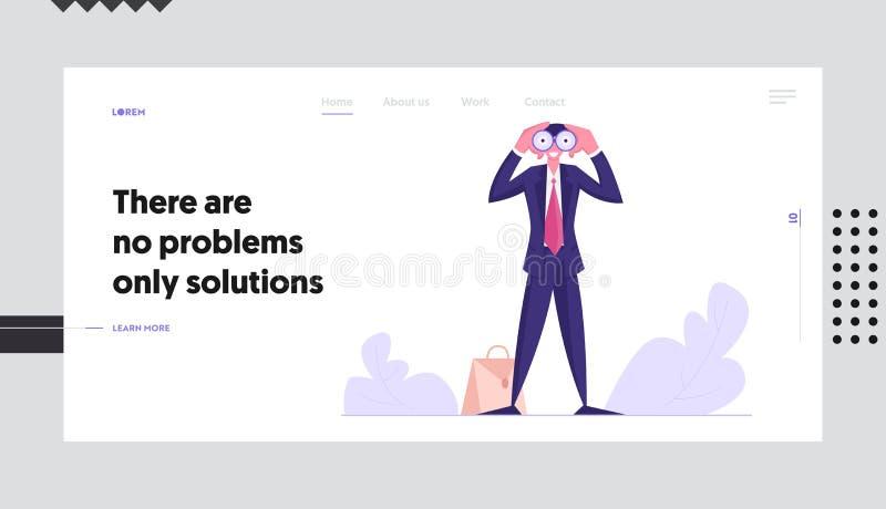 Previsão visionário, página da aterrissagem do Web site da previsão, homem de negócios Watching aos binóculos, visão do negócio ilustração royalty free