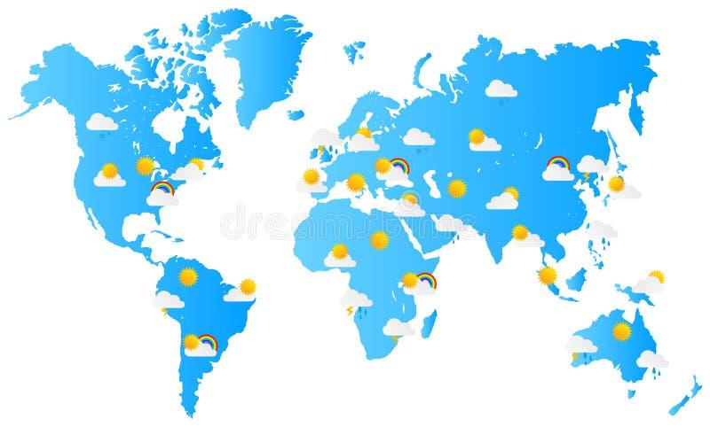 Previsioni del tempo della mappa di mondo illustrazione di stock