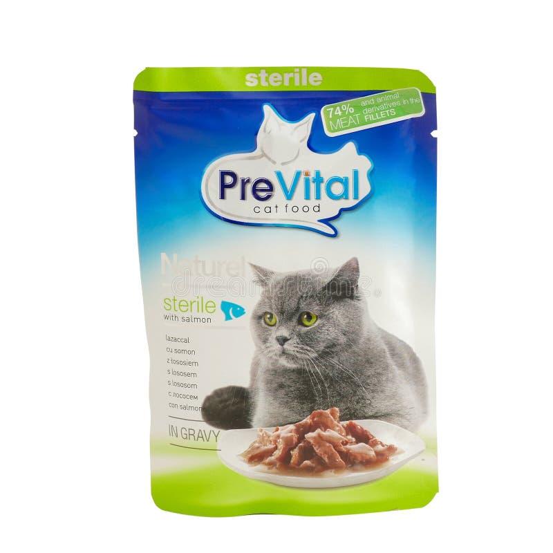 PreVital z łososiem, kieszonki kota jedzenie obraz stock