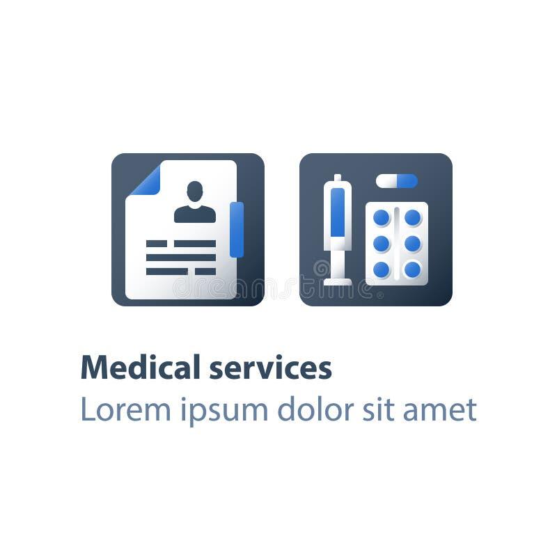 Prewencyjny szczepienie, apteka i medycyna, medyczni leki, antybiotyki kapsuła, środek przeciwbólowy pigułki, lekarstwo terapia royalty ilustracja