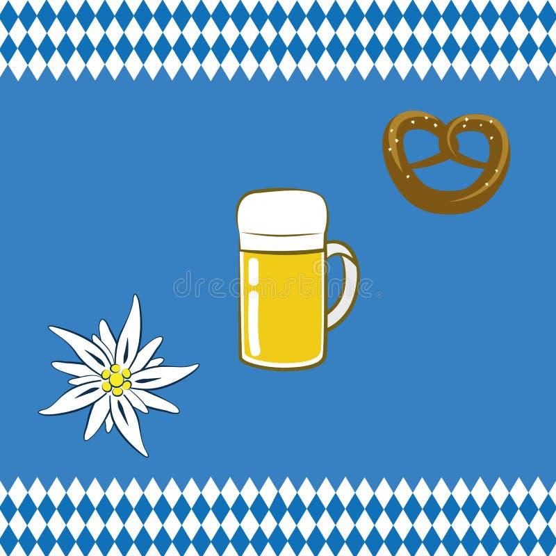 Prezel da flor da cerveja da celebração de Oktoberfest com fundo da bandeira do bavaria ilustração do vetor
