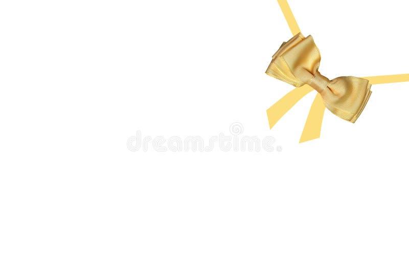 Prezentów łęki Dekoracyjny złocisty błyszczący łęk robić atłas z malującymi faborkami dla prezenta pudełka odizolowywającego na b ilustracja wektor
