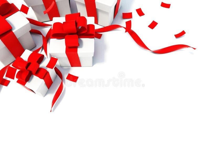 prezentów czerwieni faborki ilustracja wektor