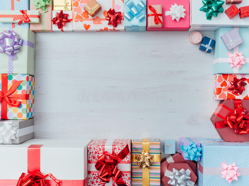 Prezentów pudełek rama fotografia stock
