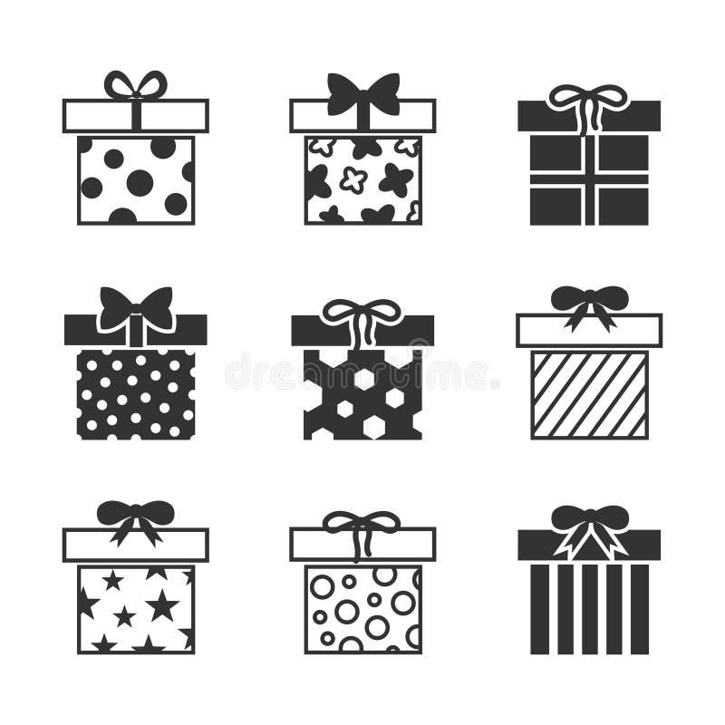 Prezentów pudełek wektorowe ikony ustawiać w czarny i biały royalty ilustracja