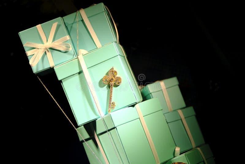 Prezentów pudełka, łęk, klasyków kolory zdjęcie royalty free